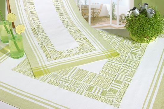 Chemin De Table Blanc Vert Hardanger Des Fiches 35 36