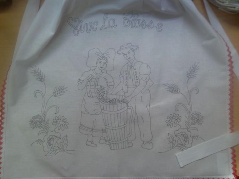Tablier Conscrit Vigne - Broderie Traditionnelle - Broderie Alsacienne